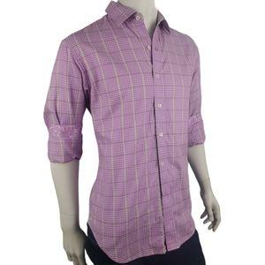 Robert Graham Houndstooth Purple Green Shirt Sz L